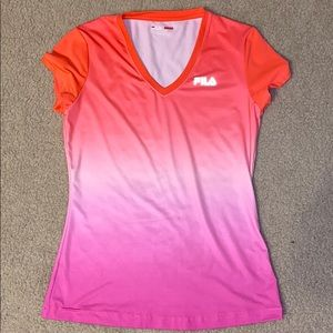 Fila pink ombre athletic vneck top